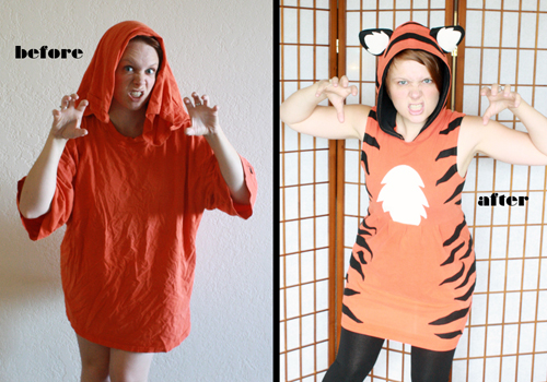 Adding Animal Eared Hoods To Shirts Tips For A Tiger Dress Tally S Treasury