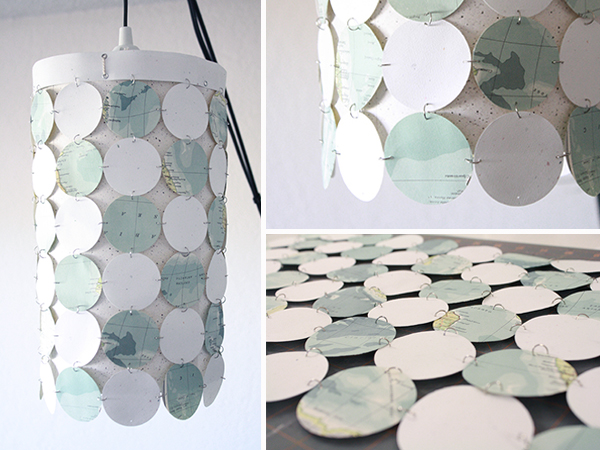 lampshade from paper circles (and an upcycled atlas) | Tally's ...