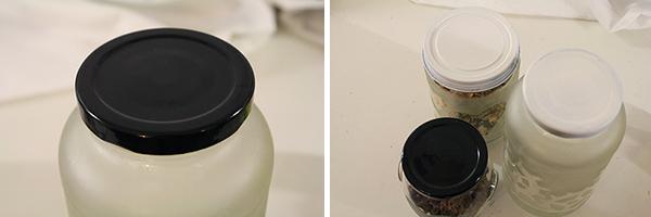 spray painted lids
