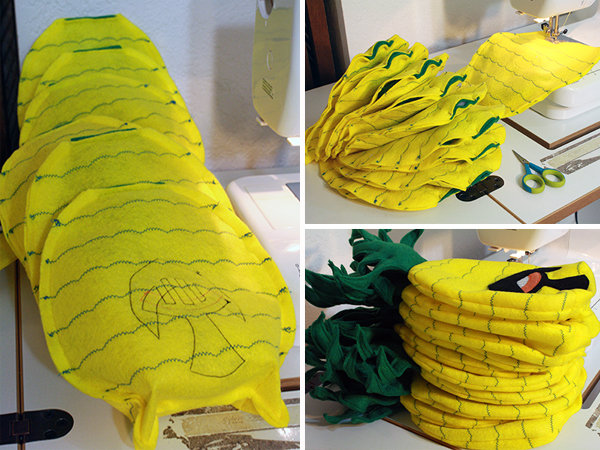 sewing pineapple bodies