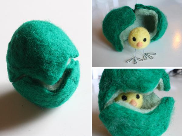 wet felted easter egg